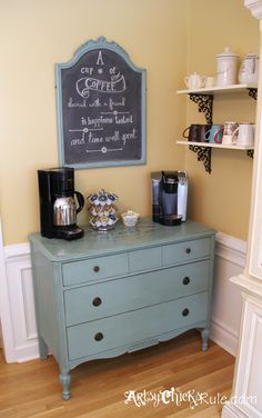 """Coffee/Tea Bar"" Server w/Shelves --- Old Antique Dresser to Coffee Bar. (with Annie Sloan Chalk Paint & Graphics) In place of the hutch? Fill with canned goods, decorate with a shelf of cookbooks and we have our own coffee/tea bar! Painted Furniture, Diy Furniture, Plywood Furniture, Modern Furniture, Furniture Design, Coffee Nook, Coffee Coffee, Drink Coffee, Coffee Break"