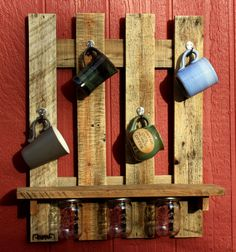 Mug rack, pallet wood, handcraft