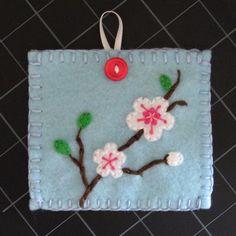 Japanese Cherry Blossom Embroidered Felt Pouch via Etsy