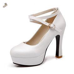 BalaMasa Girls Metal Buckles High-Heels White Soft Material Pumps-Shoes - 10 B(M) US - Balamasa pumps for women (*Amazon Partner-Link)