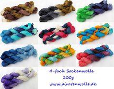 handgefärbte Sockenwolle www.piratenwolle.de https://www.etsy.com/de/shop/Piratenwolle