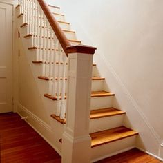 Staircase - wood treads, painted risers, painted wood spindles