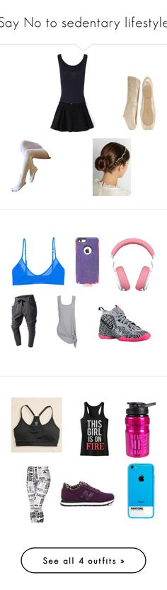 """""""Say No to sedentary lifestyle"""" by brunasthefanny ❤ liked on Polyvore featuring Falke, Jennifer Behr, Bloch, NIKE, OtterBox, Monki, Doublju, Maison Margiela, Roseate and American Eagle Outfitters"""