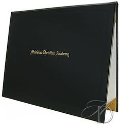 A padded leatherette diploma cover can enhance the look and value of your document. Our covers sport a handsome leatherette exterior, white silk moire panels and gold satin corner ribbons.