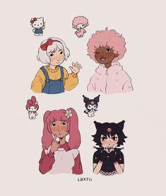 LUXJii Hello Kitty Characters, Sanrio Characters, Cute Art Styles, Cartoon Art Styles, Old Cartoon Shows, Arte Sketchbook, Dibujos Cute, Pretty Art, Character Design Inspiration