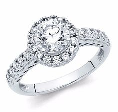 1 50 Ct Round Halo Engagement Wedding Ring Band Solid 14k White Gold