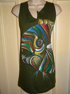 Hand Painted Fish  Upcycled   Reconstructed Tee by KillWalmart, $15.00