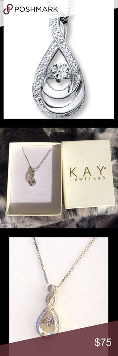 "TEMPORARY PRICE DROP-HURRY!🎉 Sterling silver teardrop with diamond accent center. 9 additional side diamonds surround the teardrop. On an 18"" sterling box chain. NIB never worn. Would make a fantastic holiday gift! (No bundling on this item please, it belongs to my son and he needs the money. Thanks for understanding!) Kay Jewelers Jewelry Necklaces"
