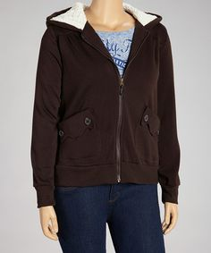 This Chocolate Scalloped Pocket Zip-Up Hoodie - Plus by Dollhouse is perfect! #zulilyfinds