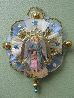 Vintage Look Victorian Christmas Ornament-Scrap Angel w/Child,German Dresdens, 2 Spun Glass Circle,Tinsel,Vtg Glass Beads on Etsy, $23.00
