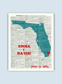 Florida Print, Florida Map, Florida Wall Art, Florida Gift, Florida Wedding Gift, Miami Florida State silhouette, Florida Established Sign by DicosLand on Etsy