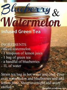 Green Tea Detox Drink - smoothies - Blueberry & Watermelon Detox Drink The whole recipes is at friedchickenrecip… - Juice Smoothie, Smoothie Drinks, Detox Drinks, Healthy Drinks, Smoothie Recipes, Juice Recipes, Green Tea Recipes, Detox Juices, Beef Recipes
