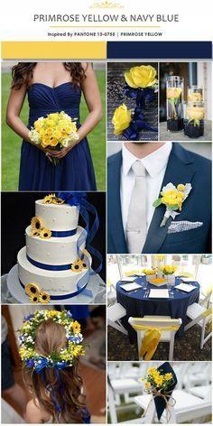 Primrose Yellow and Navy Blue Wedding Color Ideas