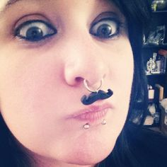 Mustache Charm And 14g Septum Ring Mustache by ArtalynCreations