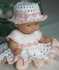 PDF PATTERN Crochet 5 inch Berenguer Baby Doll Peach Rose Dress Set