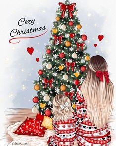 Christmas Scenes, Christmas Fashion, Christmas Baby, Christmas Time, Xmas, Beautiful Girl Drawing, Beautiful Drawings, Fashion Art, Illustrator