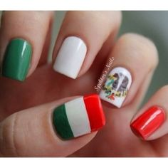 Mexico | 38 Awesome Nail Art Designs Inspired By The World Cup. This is so awesome!