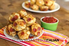 Bite Size Cheesy Pepperoni Pizza Puffs in 30 Minutes - reduced recipe: 1/2 c flour, 1/2 tsp baking powder, 1/2 tbsp Italian seasoning, 1/4 c shredded parm cheese, 1/4 tsp sugar, 1/2 tbsp EVOO, 1/2 c milk, 1 egg, 1/2 c shredded 4 cheese pizza blend cheese, mini pepperoni. Preheat oven to 350 and bake for approx. 20 mins in greased muffin pin. Makes 12 puffs. Original recipe for 48 puffs.