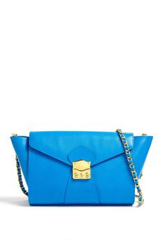 AILA | Electric Blue The Clutch with Gold Chain Strap by Aila