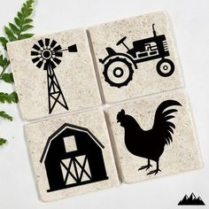 Farm Coasters - Set of 4 <br> Farm Coasters Design: Tractor, Rooster, Windmill, and Farmhouse Protect your investment! You invest a beautiful table, don't let it get damaged by a water ring! Ceramic Coasters, Stone Coasters, Wood Coasters, Ceramic Tile Crafts, Trash To Couture, Vinyl Crafts, Vinyl Projects, Farmhouse Coasters, Farmhouse Decor