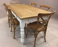 oak farmhouse kitchen table with 'french grey' painted legs & 6