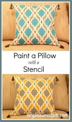How to Paint a Pillow with a Stencil by virginiasweetpea.com