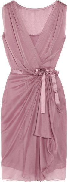 Alberta Ferretti Silk-chiffon Wrap Dress in Purple
