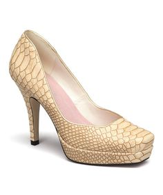 Another great find on #zulily! Beige Embossed Palm Bay Pump by Bellini #zulilyfinds