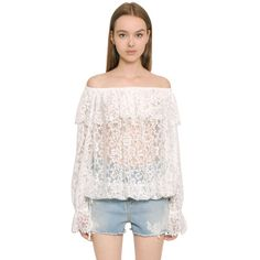 Ermanno Ermanno Scervino Women Off The Shoulder Techno Lace Top (468 CAD) ❤ liked on Polyvore featuring tops, blouses, white, white lace blouse, off shoulder ruffle blouse, white off shoulder top, off the shoulder blouse and white off shoulder blouse
