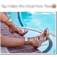 Rose Gold Ankle Strap Sandal Heels https://www.myshoebazar.com/shoes/metallic-ankle-strap-sandal-heels/