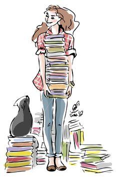 Просмотреть иллюстрацию Девушка с книгами из сообщества русскоязычных художников автора Sima Chicherova в стилях: 2D, Журнальный, Компьютерная графика, нарисованная техниками: Растровая (цифровая) графика.