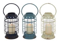 Exquisite Metal Glass Lantern 3 Assorted