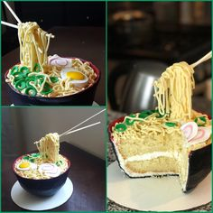 Made a Ramen cake for my brothers birthday! Fondant Cakes, Cupcake Cakes, Cupcakes, Anime Cake, Sushi Cake, Realistic Cakes, Gravity Cake, Crazy Cakes, Novelty Cakes