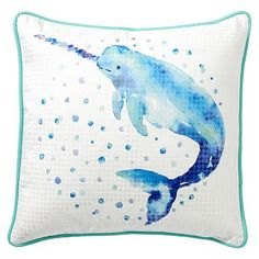 Sea Creature Pillow Cover, 18x18, Narwal