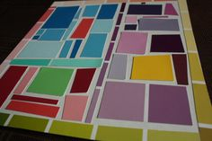 paint chip mosaics - Could adapt for a Mondrian art project happy hooligans Happy Hooligans, Paint Chip Art, Paint Chips, Kindergarten Art, Preschool Art, Abstract Art For Kids, Toddler Art Projects, Ecole Art, Arts And Crafts