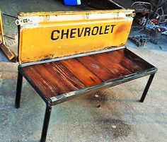 https://flic.kr/p/uzwSLE | Chevy Tail Gate Benches | Truck tailgate bench for sale made from recycled salvage and reclaimed wood seat. Measures 52 in wide x 24 inches deep x 36 in tall more can be scene at Recycled Salvage Design Artist Raymond Guest website www.recycledsalvage.com location Texas Phone 903.452.8761