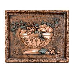 Tridimensional mural for kitchen backsplash in copper finish. Beautiful tuscan design inspiration