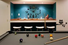 Love this clock for basement! Basement Pool Room/Teen Hangout - contemporary - basement - indianapolis - by Susan Yeley Interiors
