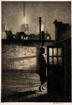 Martin Lewis (1881-1962) Little Penthouse,1931 Drypoint, 9 7/8 x 6 ¾ in. Collection of Dr. Dorrance T. Kelly