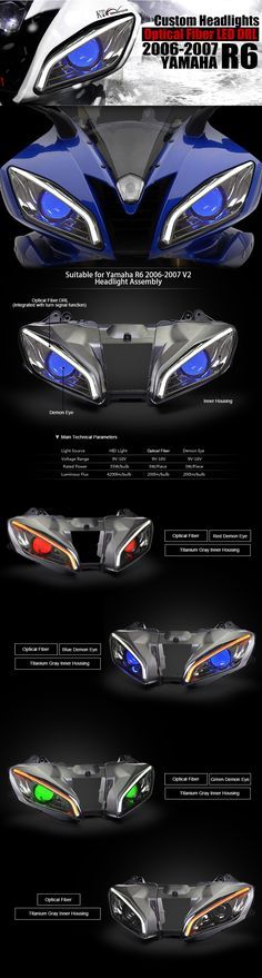 Yamaha YZF R6 2006-2007 V2 Optical Fiber LED Custom Headlight Assembly