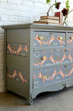 Dresser Refresh by Barb Blair of Knack Studios. Wallpaper print by Holli Zollinger on Spoonflower.