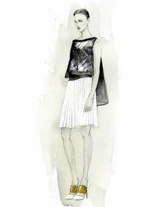 Fashion Illustrator Mengjie Di: New Commission Work for NYC Designer Angel Sanchez SS14