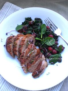 Pan-Fried Duck Breast with a Warm Salad of Beluga Lentils, Spinach and Cranberries