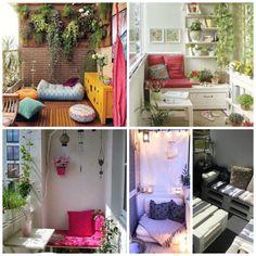 decorar balcones y terrazas pequeñas Porches, Porch Swing, Outdoor Furniture, Outdoor Decor, New Homes, Exterior, Bed, Buenas Ideas, Home Decor