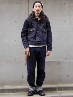 Denim Jacket Men, Bomber Jacket, Leather Jacket, Blue Is The Warmest Colour, Japan Fashion, Vintage Denim, Warm Colors, Denim Fashion, Work Wear