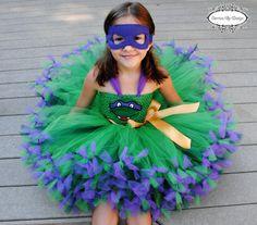 Ninja Turtle Inspired Tutu Dress with Mask  by three raggedy rascals