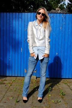 high low style metalized + jeans