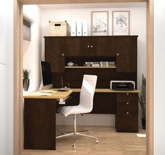 Bestar - Manhattan Secret Maple & Chocolate L-Shaped Workstation - 81420-75