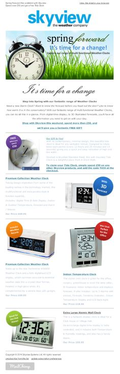 Skyview eNews March 2014 – Spring Forward this weekend with Skyview : Spend over £50 and get a free Tide Clock