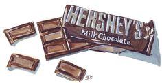 Watercolor Painting - Chocolate Bar Watercolor Art Print, 5x7